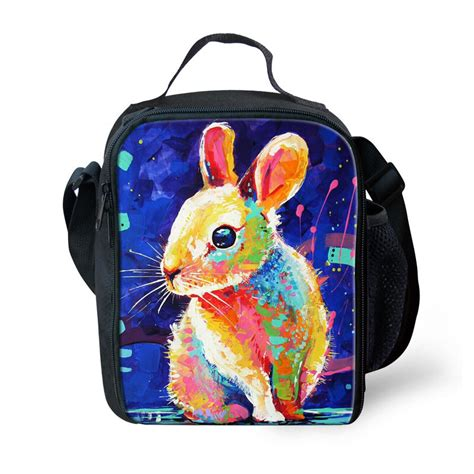 kids animal rabbit print cooler thermal lunch bag box food