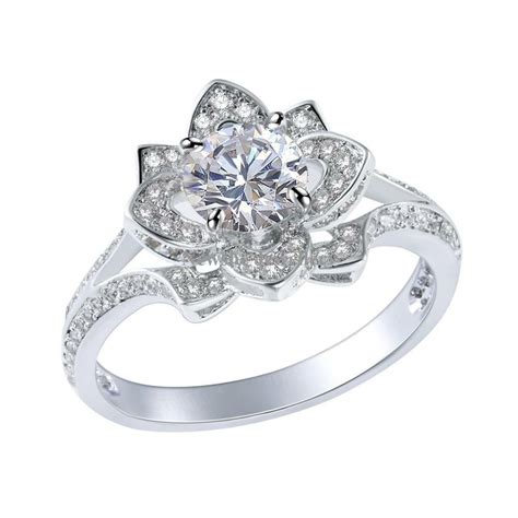 2ct round white cz sterling silver gold plated flower