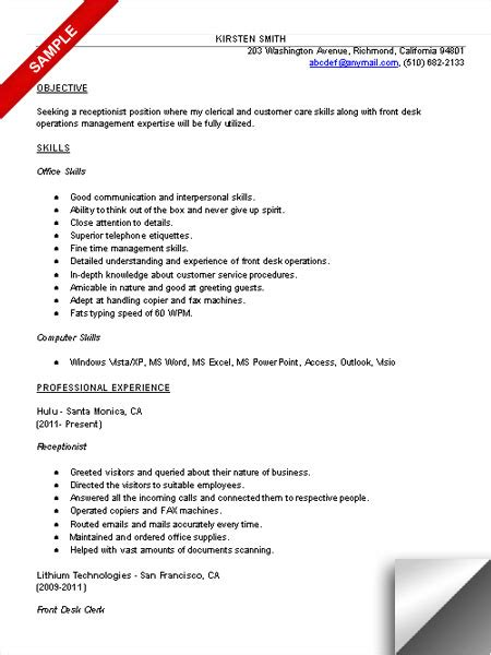 receptionist resume objective receptionist resume sle