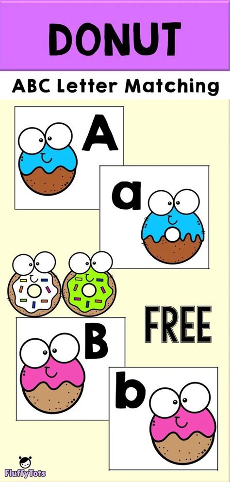 donut abc matching printables   letters matching