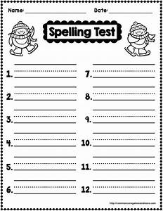 freebie winter themed spelling test template With free printable spelling test template