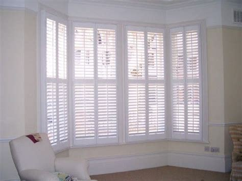 Wooden Shutter Blinds by White Wood Blinds Bay Window White Bay Window