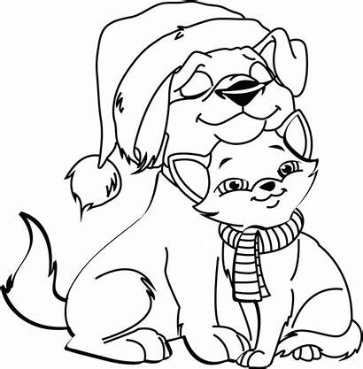 Coloring Cat Dog Pages Christmas Animals Printable
