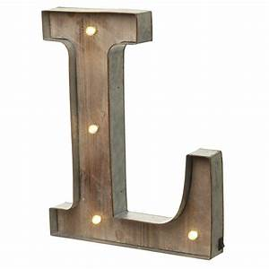 LED Light Up Wood & Metal Carnival Letter L