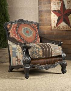 Southwestern buckley chair chairs ottomans living room for Rustic living room chairs