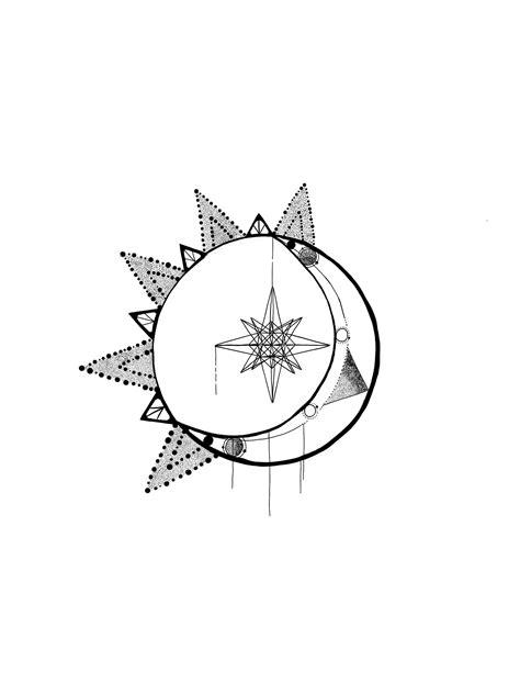 Tattoo sun stars astronomy moon geometrics ideas | Moon