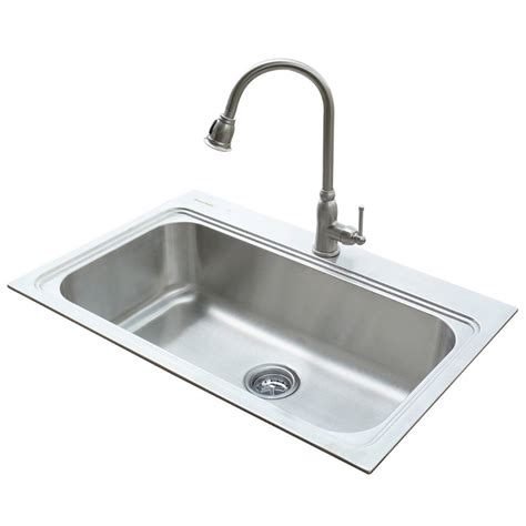 faucet sink kitchen shop american standard 22 in x 33 in silver single basin stainless steel drop in or undermount