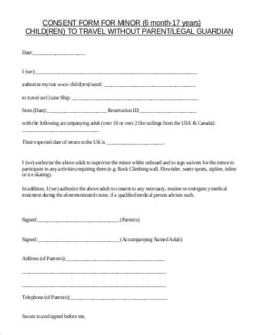 sample child travel consent forms