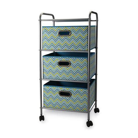 3 drawer storage cart bintopia 3 drawer storage cart teal chevron