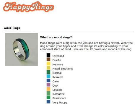 mood color chart printable mood ring color chart rings
