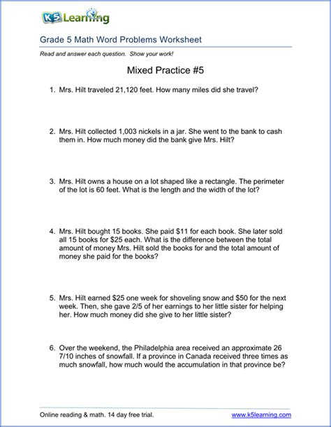 grade 5 word problems worksheet teaching
