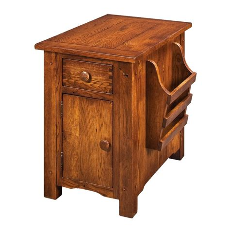 cherry wood paint country lodge chairside cabinet rustic cherry end table