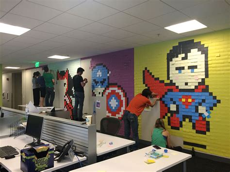 bureau post it office wall post it superheroes ben brucker 11