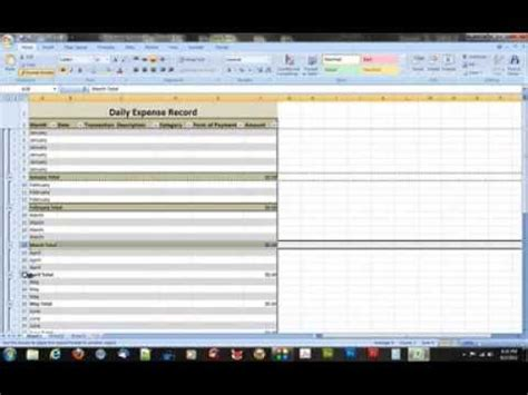 create  daily expense record  microsoft excel
