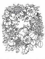 Coloring Wreath Fall Printable Autumn Wreaths Printables Surprise Fabric sketch template