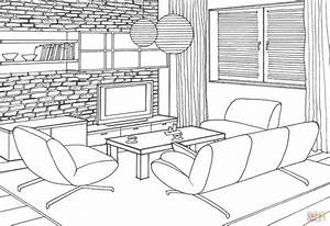 stone wall in the living room coloring page free With interior design coloring books