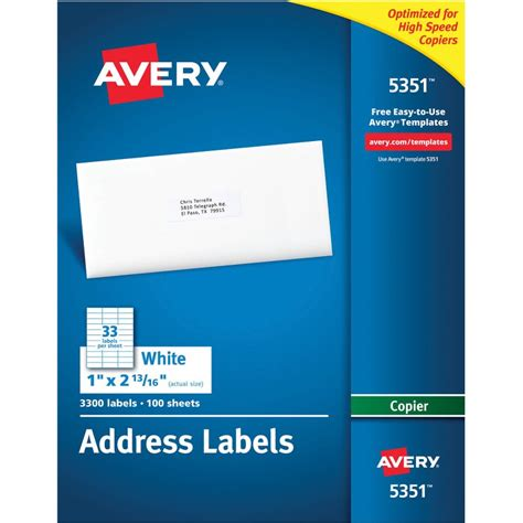 avery 5351 template avery 5351 white copier mailing address labels the office dealer