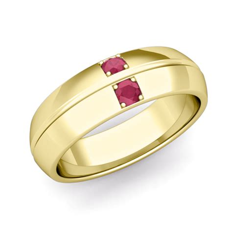 mens ruby wedding ring comfort fit wedding band in 14k gold