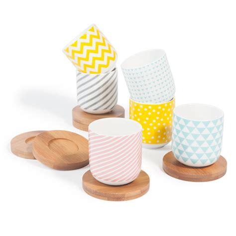coffret  tasses  cafe en porcelaine avec soucoupes copenhagen maisons du monde