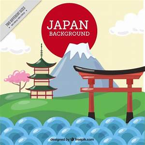 Japanese landscape with temple background Vector | Free ...