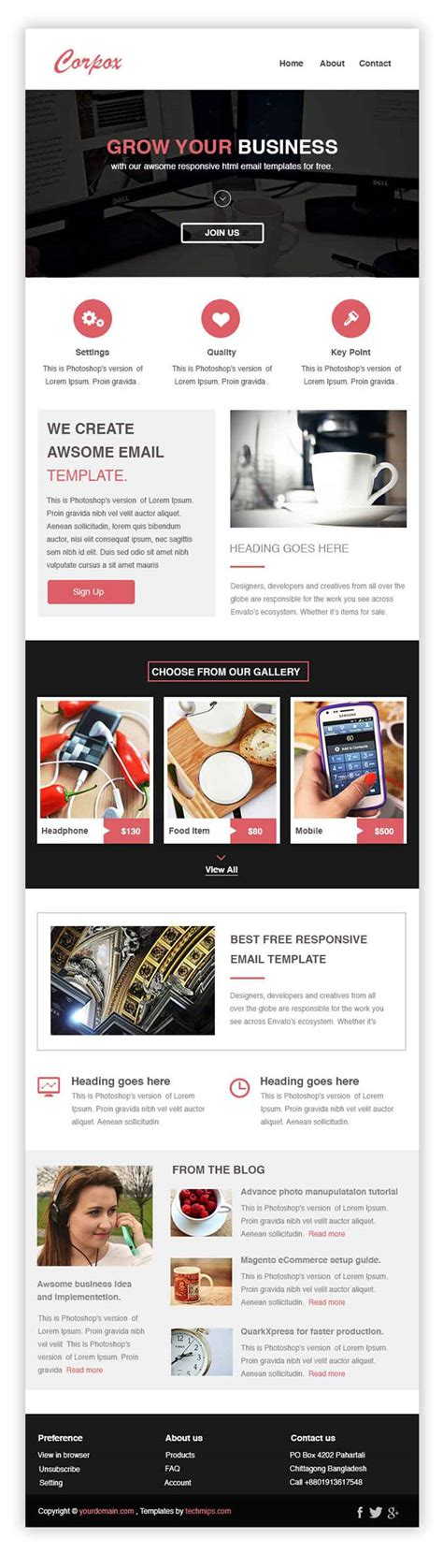 free responsive email templates corpox free responsive email newsletter templates