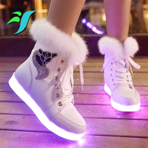 light up boots for girls high top warm led shoes women casual winter shining color