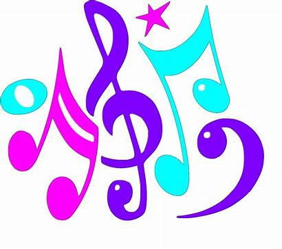 Notes Clip Colorful Clipart Musical Border Purple