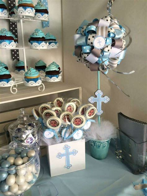 blue christening decorations blue and gray baptism ideas photo 8 of 16 catch