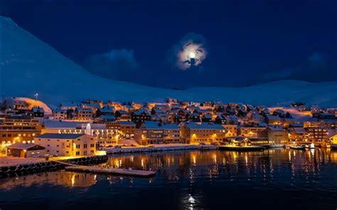 Nacht, Stadt Der Stadt, Mond, Berge, Schnee, Winter, Haus