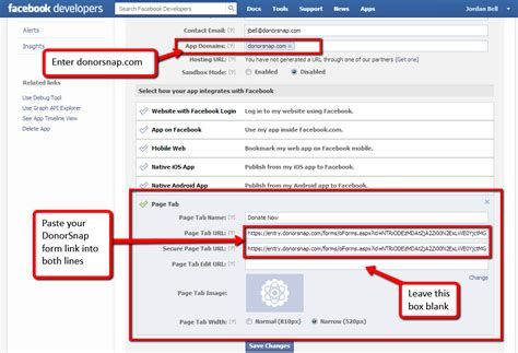 add  donate  form   facebook page tabs