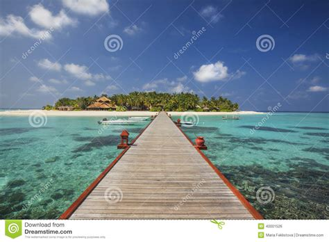 Beautiful Tiny Island In Maldives In Sunny Day Stock