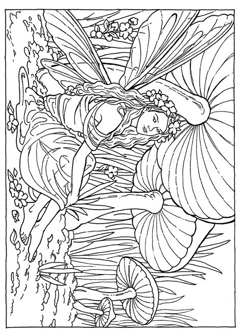 Fairy Flower Coloring Page Coloring pages Adult