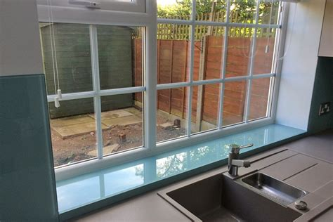 Window Sill Colours by Farrow And Dix Blue No 82 Glass Splashback And Window