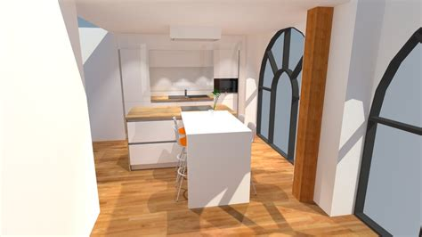 plan de travail cuisine bois cuisine blanc brillant avec îlot plan de travail bois