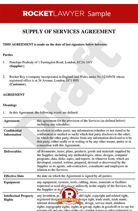 service agreement template  printable documents