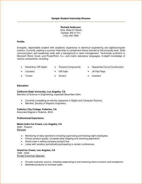 Exle Of Resume For College Internship by Resume For Internship College Student Sles Of Resumes