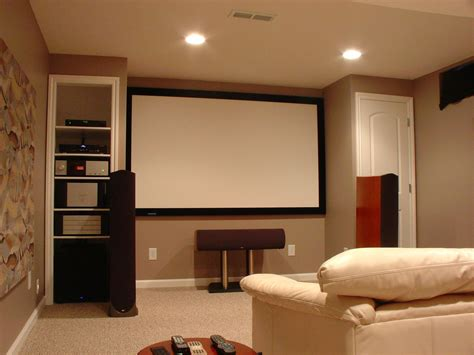Small Home Theater Ideas Brown Wooden Floor Recessed