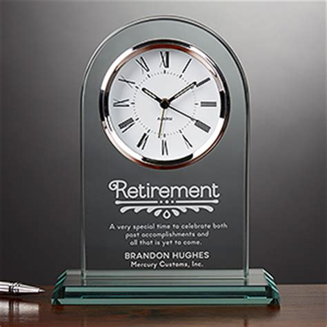 engraved glass personalized retirement clock timeless recognition