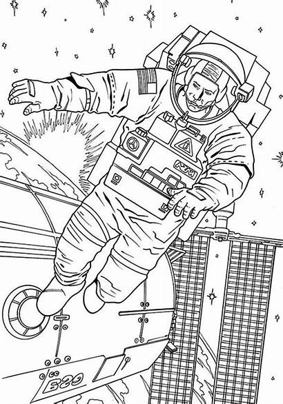 Coloring Space Astronaut Station Floating Outside Pages