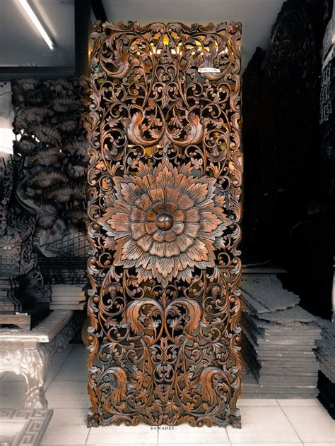 teak wood carving wall sculpture panel perfect  bed