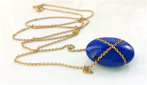 Vintage Tiffany & Co. Lapis Lazuli Bean Pendant / Necklace With 18in G Mother Daughter Personalized Bracelets Coral Wedding Jewellery Jewelry Macy's Amco Cameo Piercing Rings Helix Locket Necklace Silver Flower