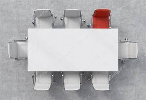 Top View of a conference room. A white rectangular table ...