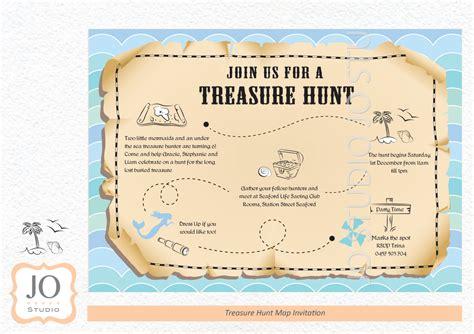 treasure hunt scavenger hunt themed treasure map invitation
