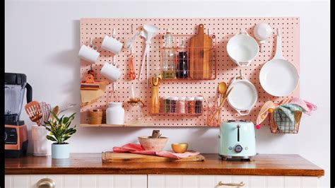 pegboard kitchen organizer kitchen pegboard storage wall diy nar 1445