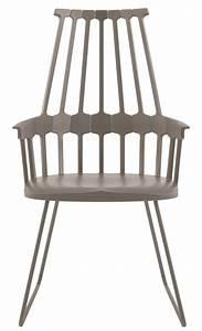 Fauteuil Pied Metal : fauteuil comback polycarbonate pied luge m tal noisette kartell ~ Teatrodelosmanantiales.com Idées de Décoration