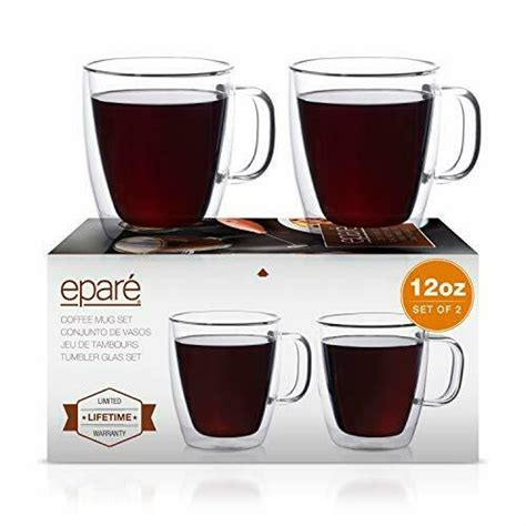 Best mug with a handle: Eparé Coffee Mugs - Clear Glass Double Wall Cup Set - Insulated Glassware - Best | eBay
