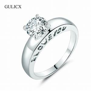 gulicx hot quoti love youquot ring white gold color zircon cz With i love you wedding rings
