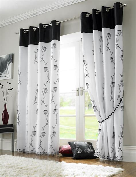rideau blanc et noir tahiti floral lined eyelet voile curtains ready made curtain pairs black white 56 wide x 72