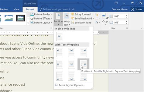Pictures And Text Wrapping Word 2016  Tutorial Office Word