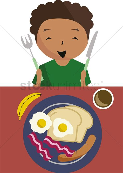 Boy ready to have breakfast Vector Image - 1398757 ...
